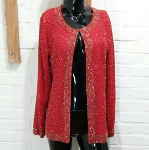 Women's Beaded Silk Evening Red Blouse Top